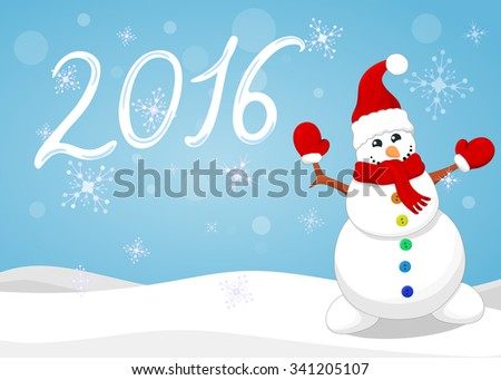Snowman Christmas background.Vector illustration. - stock vector