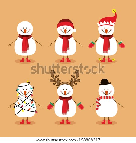 snowman design over background vector illustration - stock vector