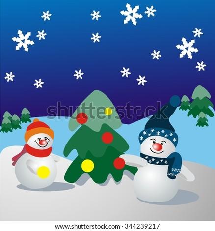 Snowman dresses fir. Vector illustration. - stock vector