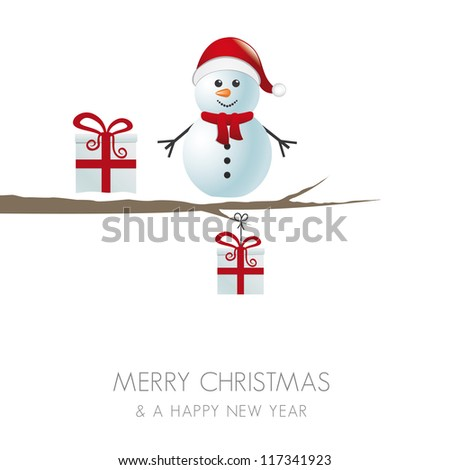 snowman figure on branch snowy winter landscape - stock vector
