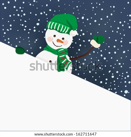 Snowman holding for a banner in vector - stock vector
