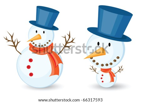 snowman illustrations for christmas theme. Isolated on white background. - stock vector