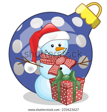 Snowman in a Santa hat with gift  - stock vector