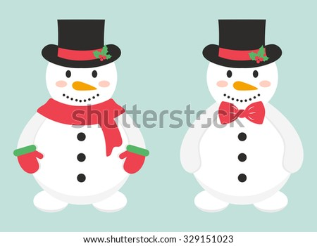 snowman in mittens and snowman and tie - stock vector