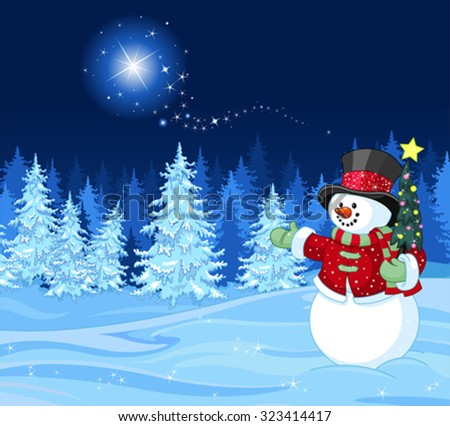Snowman in winter scene Shutting star - stock vector