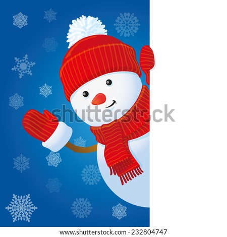 snowman looking out the corner, Christmas greeting card template, vector illustration - stock vector