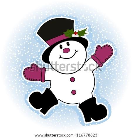 Snowman making snow angel - stock vector