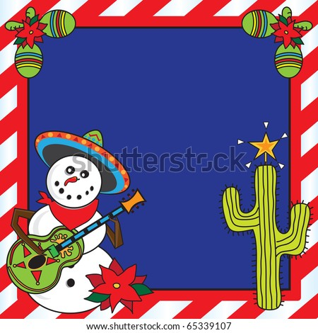 Snowman mariachi with candy cane frame - stock vector
