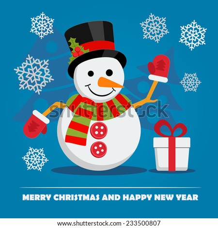 Snowman near gift box with ribbon and text below on Christmas Eve. Xmas and New Year greeting card template with falling snowflakes. Vector. - stock vector