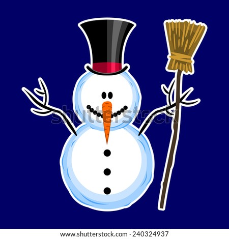 snowman on a blue background - stock vector