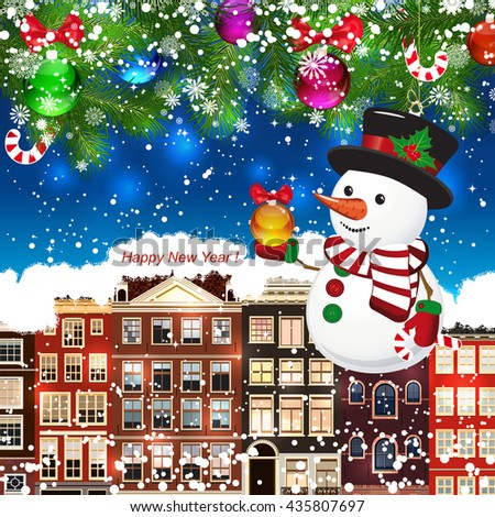 Snowman on the background of snow-covered streets.  - stock vector