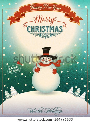 Snowman on the Hill - Christmas poster and greeting card with cheerful snowman holding Christmas candle on top of moonlit snowed-in hill, with snow-capped pine trees in the distance - stock vector