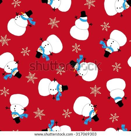 Snowman pattern - stock vector
