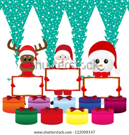 Snowman, Santa Claus, reindeer with banners and Christmas gift - stock vector