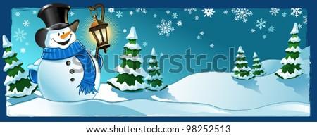 Snowman Scene - stock vector