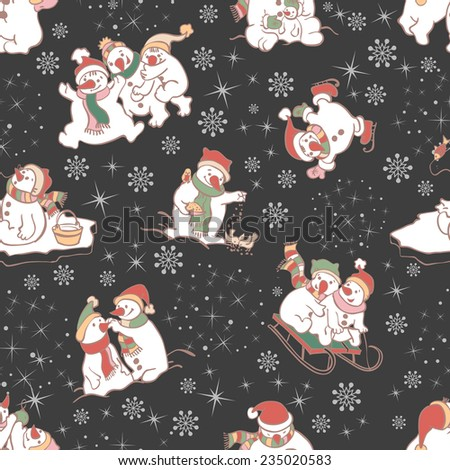 Snowman seamless pattern on dark background. Vector illustrations. Template for christmas winter design. - stock vector