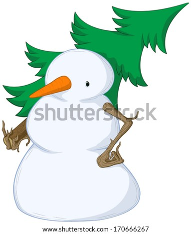 Snowman Spruce Shouldered  - stock vector