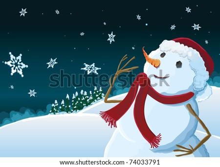 Snowman watching snow fall - stock vector