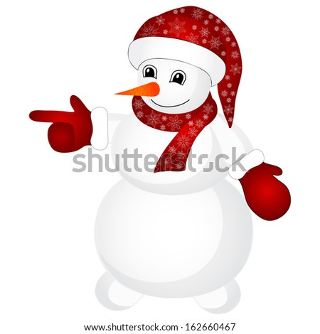 Snowman wearing santa hat isolated on the white background - stock vector