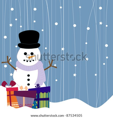 Snowman with christmas gifts - stock vector
