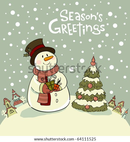 Snowman with gifts beside christmas tree. - stock vector