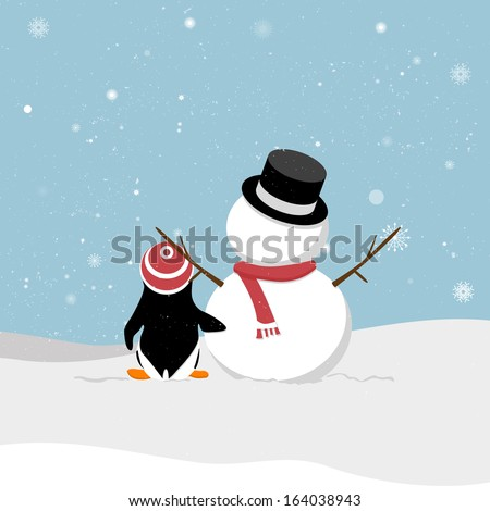 Snowman with penguin. Snowman with penguin viewing snowy. A cartoon snowman and a penguin out in the snow. Penguins clinched waist snowman. Christmas card. - stock vector