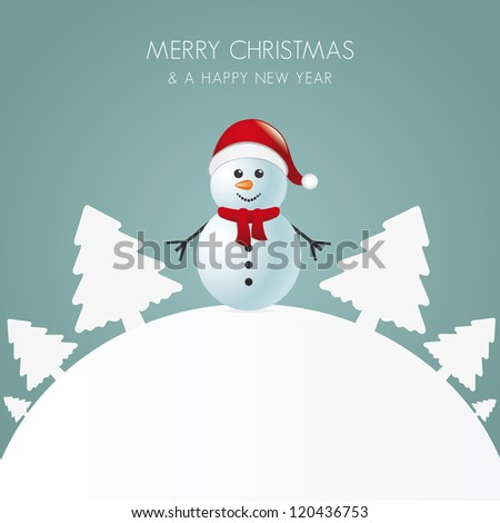 snowman with scarf white tree background world - stock vector