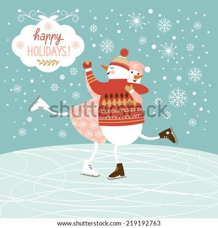 snowmen skate  - stock vector
