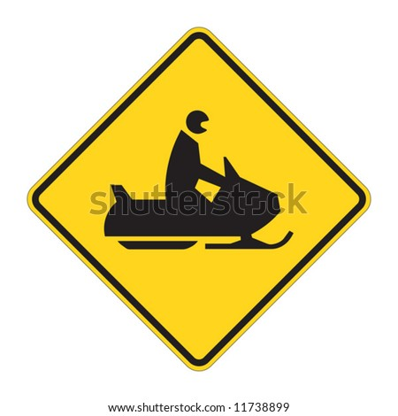 Snowmobile warning sign on white - stock vector
