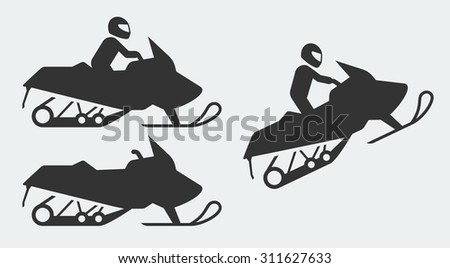 Snowmobiling silhouettes on gray background - stock vector