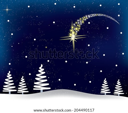 Snowy Christmas background - night sky with pine trees and shooting star. EPS 10 - stock vector