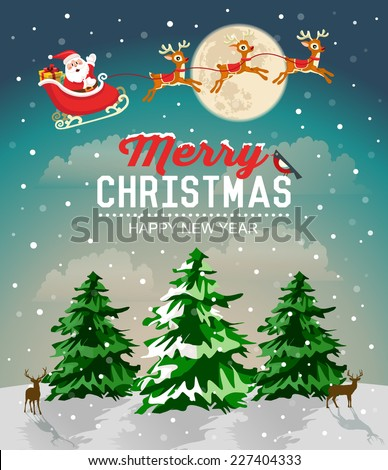 Snowy Christmas landscape. Christmas tree and Santa Claus in sleigh with reindeer - stock vector
