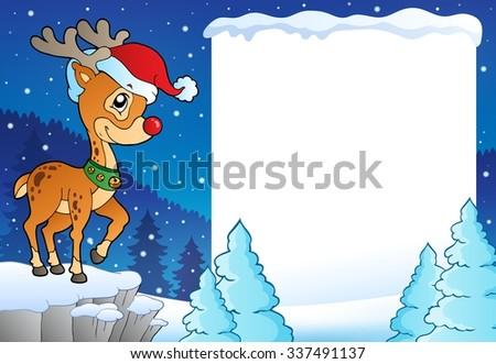 Snowy frame with Christmas reindeer - eps10 vector illustration. - stock vector