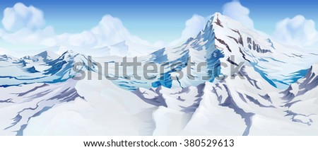 Snowy mountains landscape. Nature beautiful background - stock vector