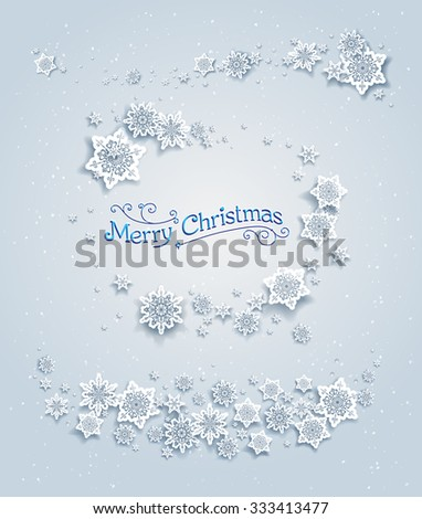 Snowy winter elements. Holiday design for card, banner, invitation, leaflet and so on. - stock vector