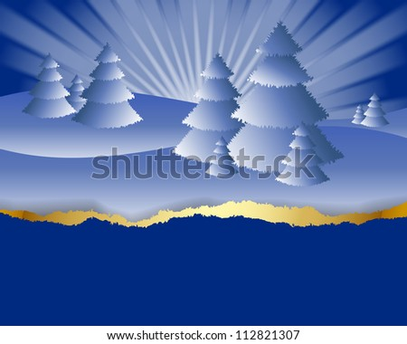 Snowy winter landscape card with copy space made of torn paper - stock vector
