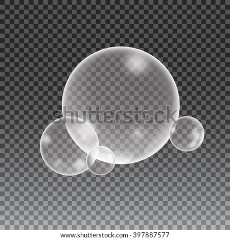 Soap water bubbles on checkered background, vector illustration. - stock vector
