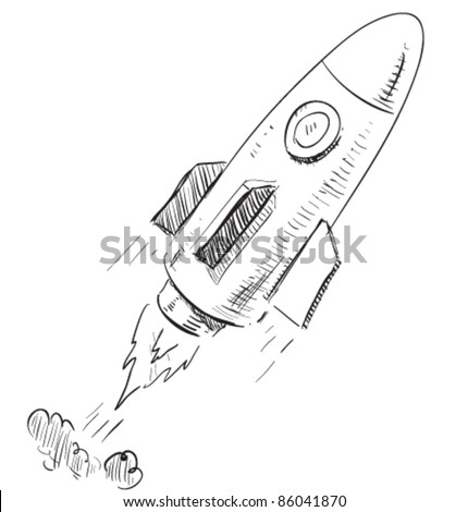 Soaring rocket ship cartoon icon. Sketch fast pencil hand drawing illustration in funny doodle style. - stock vector
