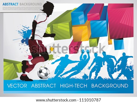 Soccer Action Player on beautiful Abstract Background. Original Vector illustration sports series. Classical football poster. - stock vector