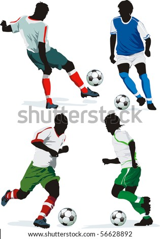 Soccer Action Players. Four figures on insulated background. Sports design elements. Original Vector illustration sports series. Classical football silhouettes for designers. - stock vector