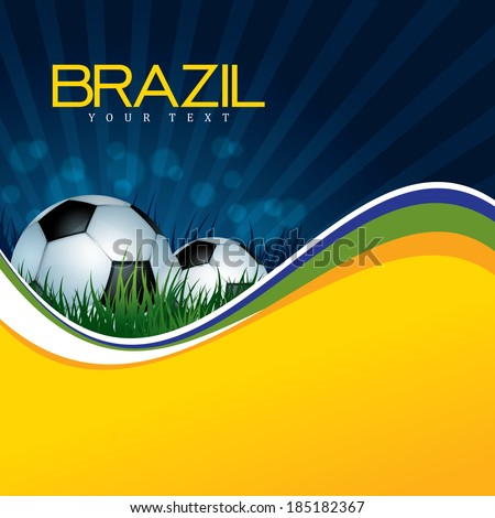 Soccer Background with Ball and grass - stock vector