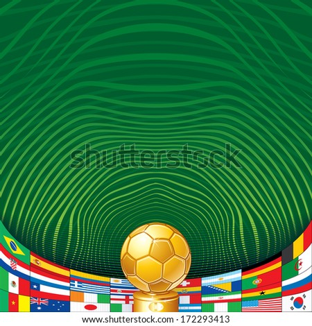 Soccer Background with Golden Cup and Flags. Ready for Your Text and Design. - stock vector