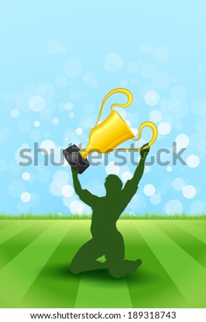 Soccer Background with Grass and with Player that Holding Award Trophy - stock vector