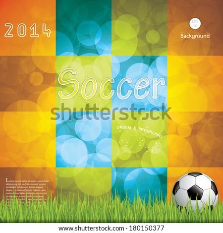 Soccer ball background.Brazil flag concept vector - stock vector