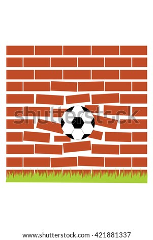 Soccer ball breaking the wall. - stock vector