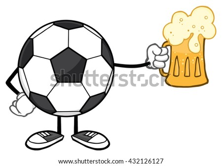 Soccer Ball Cartoon Mascot Character Holding A Beer Glass. Vector Illustration Isolated On White Background - stock vector