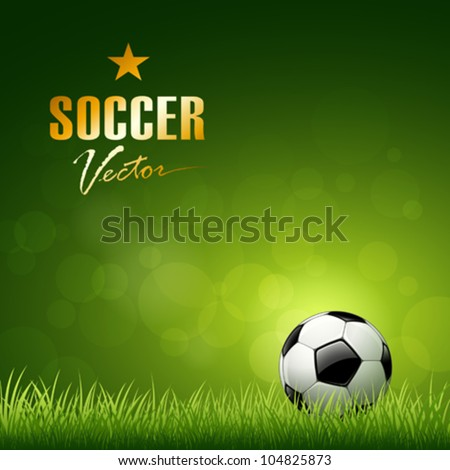 Soccer ball design on green grass background, vector illustration - stock vector