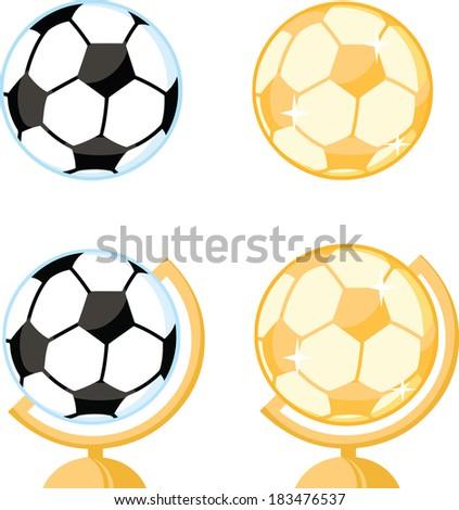 Soccer Ball Desk Globe.Vector Collection Set - stock vector