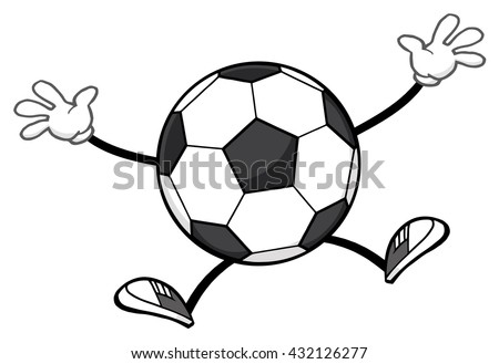 Soccer Ball Faceless Cartoon Mascot Character Jumping. Vector Illustration Isolated On White Background - stock vector