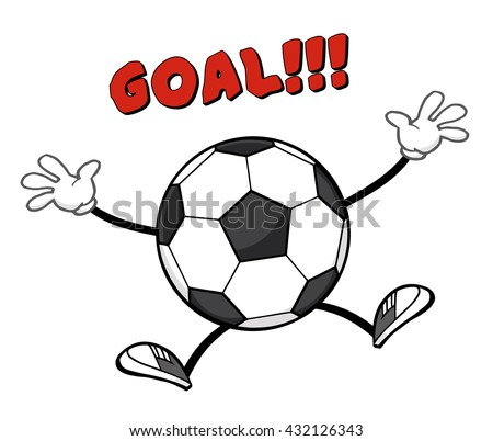 Soccer Ball Faceless Cartoon Mascot Character Jumping With Text Goal. Vector Illustration Isolated On White Background - stock vector